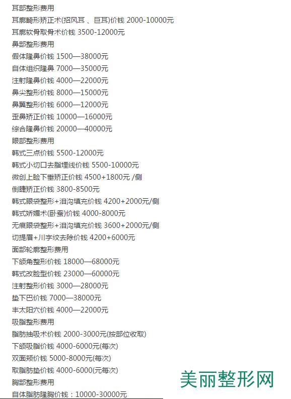 上海薇凯医疗美容门诊部价格表2017新预览