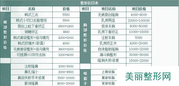 上海九院的整形价格表